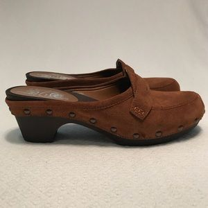 Nine West wooden suede loader clog size 9.5